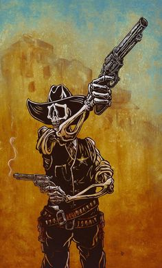 The skeleton sheriff rules the wild western town with two pistols and a hidden ace of spades. Painting Process The 36 x 48 canvas was painted with various acrylics to create a dusty Wild West backdrop