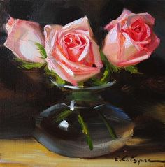 """Roses in Vase"" - Original Fine Art for Sale - © Elena Katsyura"