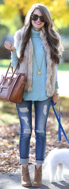 turtleneck sweater // faux fur vest, Sole Society booties // Celine handbag // 7 for all Mankind jeans