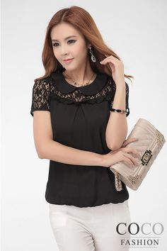 Black Lacey Korean Blouse with Fashionable Insert Style