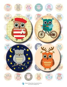 Little Owls 1  inch and 1.313 inch circles images. Digital collage sheet. Printables & downloads images. Bottle caps and button machine size by InkFive on Etsy https://www.etsy.com/listing/194388406/little-owls-1-inch-and-1313-inch-circles