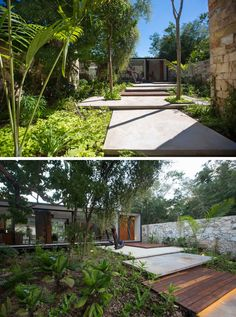 A stepped path made from wood and concrete, and surrounded by lush landscaping leads you from the garage to the main house.
