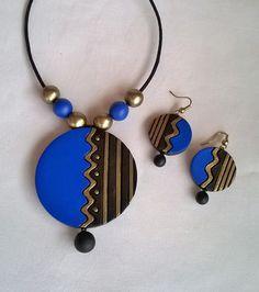 Black & Blue Round Terracotta Jewelry set – TRADENIMBO