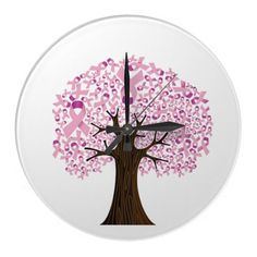 SOLD: Breast Cancer Ribbon Tree Wall Clock