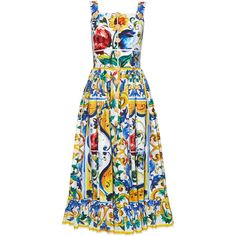 Dolce & Gabbana Majolica-print frilled-hem dress ($1,797) ❤ liked on Polyvore featuring dresses, white multi, flounce hem dress, day summer dresses, dolce gabbana dress, white ruffle hem dress and cotton print dress