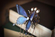 """Купить Гребень """"Ночная гостья"""" - синий, гребень для волос, гребень wire wrap, гребень с камнями"""