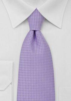 Checkered Pattern Lavender Mens Tie
