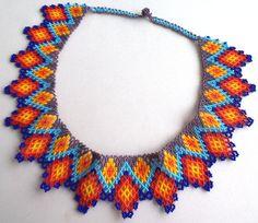 Mexican Huichol Beaded Necklace / Choker by Aramara on Etsy