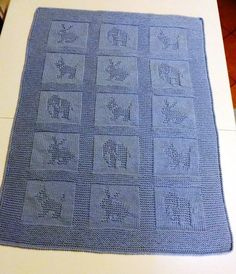 Knitting Pattern for Kittens Baby Blanket - This blankets features nine cute . Baby Knitting Patterns, Crochet Patterns, Knitted Afghans, Knitted Baby Blankets, Dk Weight Yarn, Baby Kittens, Garter Stitch, Baby Booties, Knitting Projects