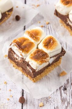 These divine No-Bake S'mores Bars are just perfect for super hot days! Layers of crushed biscuits, melted chocolate and fluffy marshmallows toasted and then set in the fridge before being sliced into bars; even the kids can get involved! No Bake Chocolate Desserts, No Bake Desserts, Just Desserts, Dessert Recipes, Delicious Desserts, Decadent Chocolate, Chocolate Lovers, Chocolate Recipes, Low Carb Protein Bars