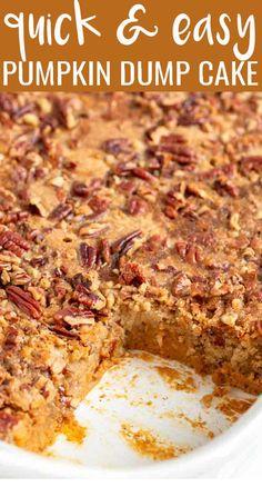 Pumpkin Deserts, Pumpkin Cake Recipes, Dump Cake Recipes, Easy Pumpkin Desserts, Pumpkin Dump Cakes, Easy Pumpkin Cake, Pumpkin Pie Cake, Pumpkin Rolls, Pecan Desserts