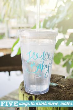 Drink more water with these five easy tips. Load up on ice water in the morning to perk you up, infuse water with simple recipes, and track your progress!