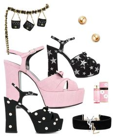 """""""YSL party"""" by fashionmindedla on Polyvore featuring Yves Saint Laurent, TARA Pearls and Prada"""