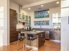 Modern kitchen with high ceilings