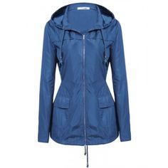 New Women Casual Hooded Long Sleeve Solid Raincoat Windbreaker Jacket Coat #RaincoatsForWomenLongSleeve
