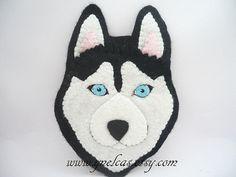 Items similar to Felt dog ornament - siberian husky handmade Christmas decoration - wall home decor on Etsy