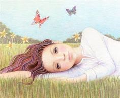 """Ilustración """"Idle"""" by Kathy Hare ♥ Butterfly Blue ♥: Vuelo inocente"""