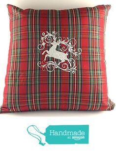 Merry Christmas Reindeer Christmas Pillow Holiday Embroidery Home Decor Embroidered Pillow Red Taffeta Tartan Gift from Kate Izzy & Bean http://www.amazon.com/dp/B017DWVYJI/ref=hnd_sw_r_pi_dp_NuMpwb168Q5W2 #handmadeatamazon