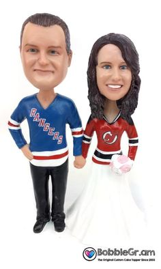 Custom sculpted to look like the bride and groom based on your submitted photos. Customize with your choice of jerseys - team, number and name. Funny Wedding Cake Toppers, Cool Wedding Cakes, Custom Cake Toppers, Military Wedding Cakes, Hockey Wedding, Military Cake, Funny Couple Photography, Wedding Photography, Photography Ideas