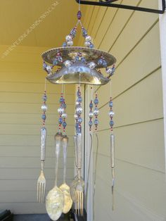 Wind chime with re purposed vintage silver by WhisperingRainbows, $75.00