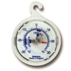 Dial fridge thermometer with a blue and red temperature scale indicating recommended zones for your fridge or freezer.