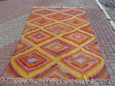 VINTAGE Turkish Kilim Rug Carpet Handwoven Kilim by misterpillow, $575.00