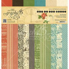 """Graphic 45 Off To The Races Print & Solid Paper Pad 12""""x12"""" 24/Pkg"""