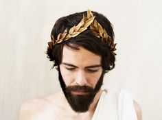 Gold Leaf Headband. Greek God Gold Leaf Crown by BloomDesignStudio