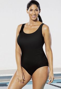 25f6dc6e9f961 Chlorine Resistant Lycra Xtra Life Black Side Shirred One Piece Swimsuit