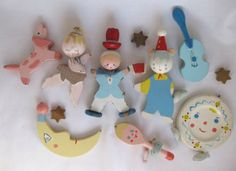 Vintage Children's Nursery Rhyme Wood Mobile Parts by MyAlterEco, $18.00