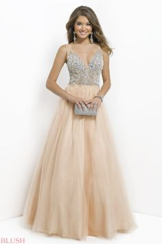 Brilliant in jewels! Elegant stones over antique beads create a stunning bust as soft illusion flows into a plunging deep v-back. A full ballgown is ready to dance. I want this as my prom dress !