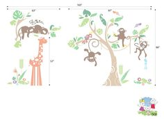 Children Wall Decal Wall Sticker Animals Jungle with by evgieNev