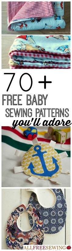 DIY Sewing for Baby - 70 Free Baby Sewing Patterns and learn how to make baby clothes, baby bib DIYs, baby clothes patterns and unique baby shower gifts Baby Sewing Projects, Sewing For Kids, Sewing Hacks, Sewing Basics, Sewing Crafts, Sewing Tips, Sewing Ideas, Baby Sewing Tutorials, Diy Projects