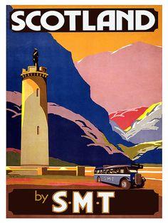 Scotland Travel Art Print Vintage Poster TR10 by Blivingstons
