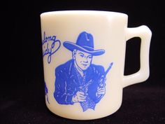 Blue Hopalong Cassidy Mug by Hazel Atlas  My husband has one just like this!