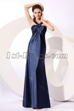 1st-dress.com Offers High Quality Pretty Navy Blue Satin Halter Plus Size Party Dress,Priced At Only US$150.00 (Free Shipping)