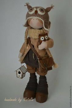 Love her owl hat! #clothdoll #doll