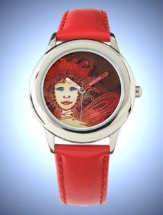 Kid's Stainless Steel Red Leather Strap & Red Art Déco Fairy Face Watch