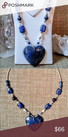 Lapis lazuli pyrite heart pendant necklace  This beautiful lapis lazuli heart pendant necklace harmonizes the physical, mental, emotional and spiritual bodies. It encourages self-awareness, self-expression, speaking your truth, creativity and aids in dissolving emotional bondage. The pendant is suspended by a pewter bail with a combination of pillow and round lapis lazuli beads, Swarovski crystals, silver plated spacer beads, pearls, seed beads and a sterling clasp. handmade  Jewelry…