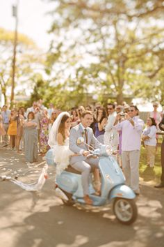 An Italian wedding must include a vespa!