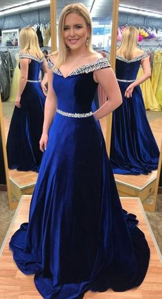 gorgeous royal blue long prom dress, 2018 off the shoulder royal blue long prom dress graduation dress formal evening dress #Graduationdresses