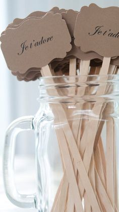 Wedding Drink Stirrers-French Themed Wedding-Je t'adore-Paris Themed Wedding-Personalized Drink Stirrers-Coffee Stirrers-Set of 50