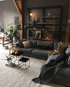 33 Small Living Room Decor Ideas on a Budget - Gallery Home Decorations Dark Living Rooms, Boho Living Room, Home And Living, Gothic Living Rooms, Dark Rooms, Lights For Living Room, Black Living Room Furniture, Rustic Modern Living Room, Modern Farmhouse