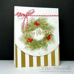 Embellish My World: 'Tis the season.a TON of holiday stamping going on! Christmas Card Crafts, Stampin Up Christmas, Christmas Cards To Make, Christmas Deer, Winter Christmas, Christmas Wreaths, Merry Christmas, Holiday, Thanksgiving Greetings