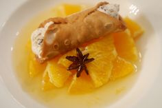 Mint chocolate, ricotta cream cannoli on oranges in syrup.  #Cooking #Delicious #Desserts