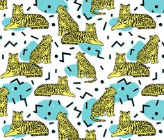 Rad Tiger Party - Canary Yellow/Aqua/Black by Andrea Lauren fabric by andrea_lauren on Spoonflower - custom fabric