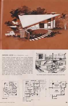 Very workable plan Eliminate the second story Vintage House Plans, Modern House Plans, Small House Plans, House Floor Plans, House Blueprints, Second Story, Architecture Plan, Mid Century House, Mid Century Modern Design