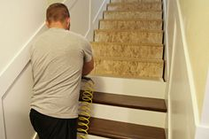 Secret Stairs: No Longer a Secret! Idea for attic stairway. Minus wainscoting and two-tone. Use side runner, rise and tread – all st Stair Renovation, Basement Renovations, Home Remodeling, Basement Designs, Bathroom Remodeling, Stairs Treads And Risers, Railings, Banisters, Staircase Makeover