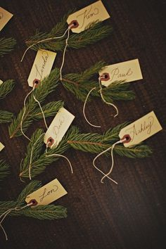 Evergreen pieces as place cards
