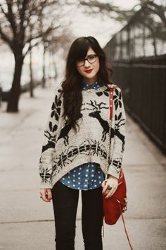 Such a cute outfit. Especially love the deer sweater and glasses.